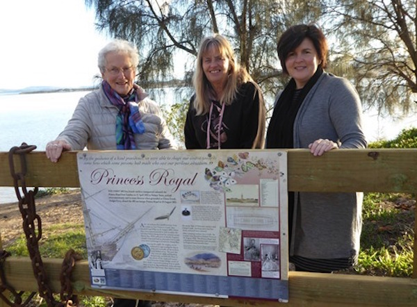Judy Pearson, Moya Sharpe and Melinda Reed at the Princess Royal history sign on the foreshore at Gary St, Lewisham